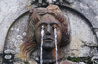 Spain, province Vizcaya, Bilbao,  Well figure, detail,   Water game, woman, eyes, jet of water, culture, art, sculpture,