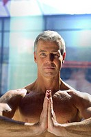 Window front, man, middle age,  Upper bodies freely, Yoga, portrait,   Series, 40-50 years, 45 years, grey-haired, gaze camera, hands, recuperation, f...