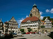 Germany, Baden-Württemberg,  Man mountain, market place, town hall,  Church,  Europe, southwest Germany, sight, architecture, constructions, buildings...