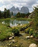 Italy, Dolomites, Pordoi-Joch, mountain lake,  Gaze, Langkofel, 3181 m,   South Tyrol, mountains, high mountain regions, mountains, mountain brook, po...