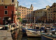 Italy, Ligurien, Riviera of di Levant,  Camogli, harbor,   North Italy, Mediterranean coast, Italienische Riviera, fisher village, houses, fisher harb...