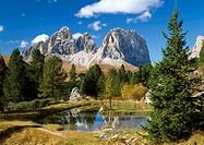 Italy, South Tyrol, Dolomites, Pordoi-Joch, Mountain lake, gaze, Langkofel, 3181 m,   Southern lime Alps, mountains, highland, sea,  Pond, nobody, hum...