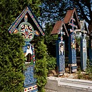 Romania, Sapanta, ´funny graveyard´,  Diggers, detail,   Europe, southeast Europe, sight, culture, belief, religion, Christianity, crossed, funeral bl...