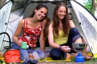 Camping, tent, frankly, girls, meadow,  Camping stoves, waters cook,   18-19 years, teenagers, friends, vacation, leisure time, camping vacation, wate...