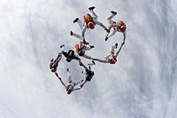 Skydiver, suitors case formation headlong,  Hands, circles, hold two, from below,   Parachutists, 8 people, athletes, extreme athletes, sport, extreme...