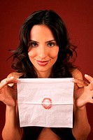 Woman, cosmetics cloth, lip mark, shows, portrait,   Series, 20-30 years, dark-haired, long-haired, makes up, makeup, cloth, paper cloth, mark, lips, ...