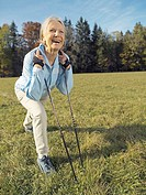 Meadow, senior, Nordic Walking,  Dehnübung,   Series, seniors, woman, 60-70 years, well Age, leisure time hobby run technology recuperation balance, f...
