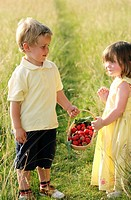 Children holding a basket of strawberries
