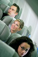 Passenger airplane, cubicle,  Passengers, detail,   Series, airplane, Boeing 737-700, women, man, sitting, relaxation, waiting, smiling, symbol, flie,...