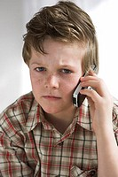 boy, cell phone, telephones, serious,  Portrait,   Series, 10 years, child, freckles, telephone, telecommunication, listening, attention, skepticism, ...