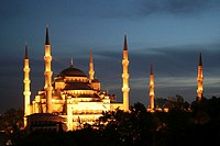 Turkey, Istanbul, blue mosque, Illumination, evening,   Sultan Ahmet Camii, Sultan-Ahmet-Moschee, domed structure, domes, towers, minarets, chapel, sa...