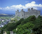 Scenic harlech castle, Snowdonia national park, Gwynedd, Wales, UK