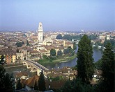 Ponte pietra & old city, Verona, Italy.