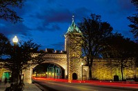 Saint-Louis gate at night. Old Quebec city. Quebec. Canada