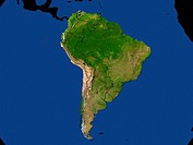 Highlighted Satellite Continent Image Of South America