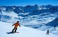 Snowboarder,, Arosa,, Graubunden,, Switzerland