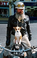 Motorbiker, with, Dog, Ireland