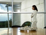 Businesswoman in office, looking out of window, side view