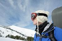 Caucasian male snowboarder