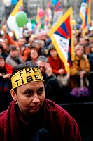 Demonstrations against Chinese occupation of Tibet. Paris, France