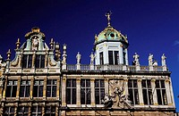 Belgium, Brussels, King of spain´s cupola and gable of the wheelbarrow on Grand´ Place square
