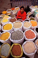 Nepal, Kathmandu, dried vegetables saleswoman