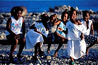 Dominica, Southern coast, young people at Scott´s Head village