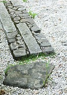 Landscaping, close-up of stone border