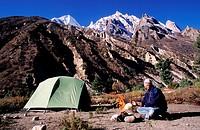 India, camp in Gadwal massif