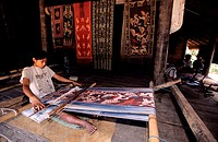 Indonesia, Sonde Islands, Sumba Island, traditional weaving of Ikat fabrics in the village of Waingapu