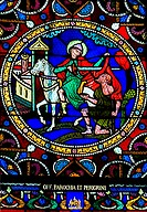 France, Indre-et-Loire (37), Candes-Saint-Martin collegiate church, stained glass representing the legend of Saint Martin cutting out his coat