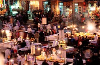 Morocco, Marrakesh, open air restaurants in Djemaa el Fna square