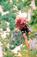 France, Alpes-de-Haute-Provence (04), climbing in Gorges of Verdon