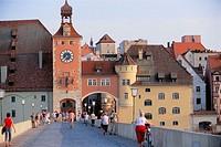 Stone bridge and tower, Regensburg. Bavaria, Germany