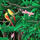 Painting of tropical birds