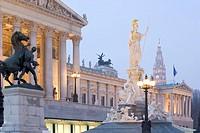 Austria, Wein, Vienna, Parliament building and Pallas Athene, dusk