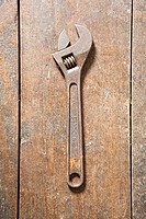 Wrench on a wooden floor