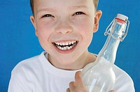 Boy with milk bottle