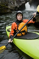 Young female kayaker