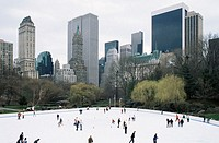 People ice skating in central park