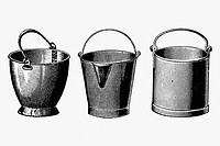 Milk buckets. Antique drawing, ca. 1900