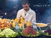 africa, morocco, marrakech, djemaa el-fna square, food sellers