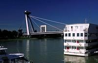 europe, slovakia, bratislava, novy most brindge on danubio river