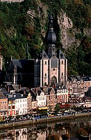 Belgium, Wallonia, Dinant, the collegiate church Our Lady on the edges of the Meuse