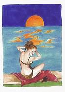 Woman with leopard bikini on beach at sunset