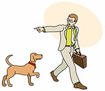 Man off to work telling his dog to go home