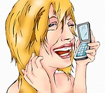 Closeup of blonde woman on mobile phone