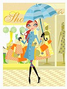 Woman holding umbrella in the rain with many shopping bags