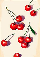 Several cherries on a tabletop