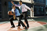 Businessmen Playing Basketball
